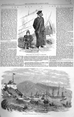 """An article about a """"Chinese bumboat man"""" from the London Illustrated News, 1858"""