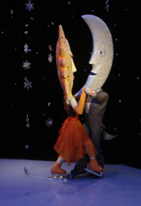 Sun and Moon animatronic figures dancing in an exhibition in Swarovski's Kristallwelten in Innsbruck, Austria
