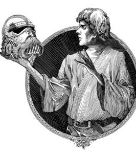 Luke looking at a dead Stormtrooper's helmet recalls Hamlet looking at Yorick's skull (p.124). Suitably imaginative illustrations by Nicolas Delort in the book.