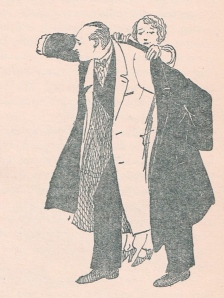 Mr. Banks getting ready for the office , from the illustration by Mary Shepard