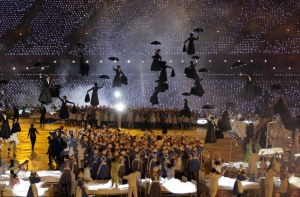 Lots of Mary Poppinses flying away with their umbrellas in the opening ceremony of the London 2012 Olympics. I'm certain half the world had no idea what that meant!