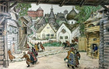 "Oprichnik, by Apollinary Vasnetsov (1856-1933) The street in the town: the set to ""Oprichnik"" by Pyotr Tchaikovsky 1911, paper, water-colour, charcoal, 52 x 83,2 cm State Theatrical Bakhrushin Museum, Moscow"