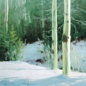 "Kathleen Dunphy, Winter Light, 2007, oil on linen, 24"" X 24"", from Landscape Painting, p. 88"
