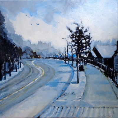 "Framed cityscape painting of winter morning in Coquitlam, Canada, called ""Cerulean Winter Morning"""