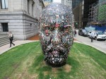 The head with gums from passersby stuck on it, outside the Vancouver Art Gallery last month. What doe sit mean? No idea.