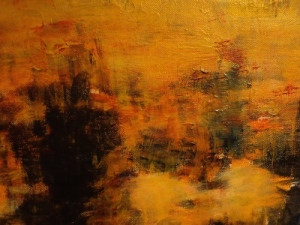 Portion of painting titled: Drone's Eye View - The Forest Is On Fire and The River is an Icy Slash.