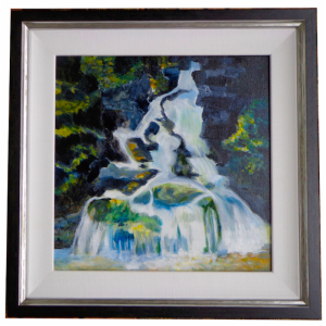 Framed landscape painting, waterfall in forest, British Columbia, Canada