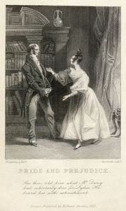 This is one of the two earliest illustrations of Pride and Prejudice. The clothing styles reflect the time the illustration was engraved (the 1830s), not the time the novel was written or set.