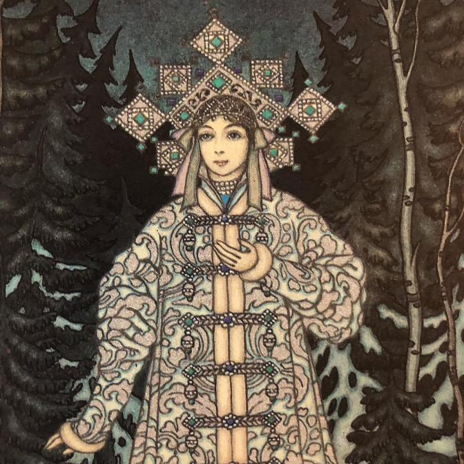 "The classic rendition of the Snow Maiden, by Boris Zvorykin, from ""The firebird, and other Russian fairy tales"", with illustrations by Boris Zvorykin; edited and with an introduction by Jacqueline Onassis, 1978."