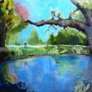 Title: Summer walk in Hagley Park, Christchurch | 16 x 16 x 0.78 inches | 40.6 x 40.6 x 2.0 cm Acrylic on canvas, varnished Signed on front; titled, dated, signed on back No. 31