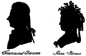 Silhouette of Francesco Benucci and Anna Storace by Hieronymous Loeschenkohl, from Oesterreichisches National Taschenkalender, Vienna 1786-1787