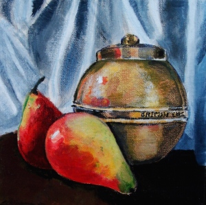 Still life I with pears and 1924 British Empire tea caddy, by M. Bijman, 8 x 8 x 0.78 inches, 20.3 x 20.3 x 2.0 cm, acrylic on canvas, varnished, framed