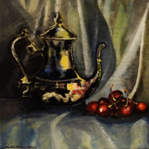 Title: Still Life with Silver Coffee Pot and Cherries I. Acrylic on canvas, 8 x 8 x 0.78 inches, 20.3 x 20.3 x 2.0 cm, varnished, Sept. 2015