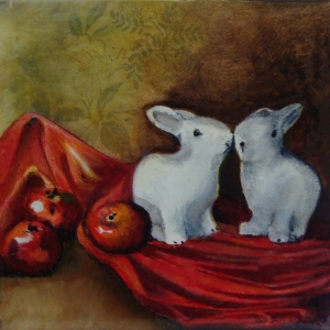 Title: Still Life with ceramic bunnies and apples. Acrylic on canvas, 8 x 8 x 0.78 inches, 20.3 x 20.3 x 2.0 cm, varnished, Oct. 2015