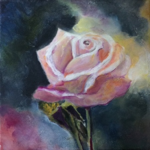 Title: Still life with pale pink rose, Hagley Park, Christchurch. Acrylic on canvas, 8 x 8 x 0.78 inches, 20.3 x 20.3 x 2.0 cm, varnished, Oct. 2015