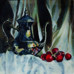 Title: Still Life with Silver Coffee Pot and Cherries II. Acrylic on canvas, 8 x 8 x 0.78 inches, 20.3 x 20.3 x 2.0 cm, varnished, Sept. 2015