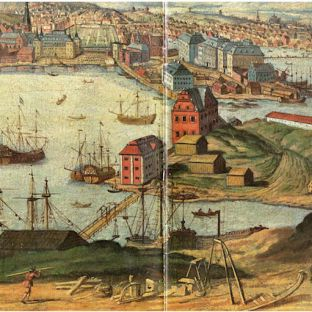 Skeppsholmen and Blasieholmen, Stockholm. View from east towards Blasieholmen with Kastellholmen in the foreground. Oil painting by unknown artist from around 1700.