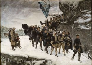 Painting by Swedish artist Gustaf Cederström (1845-1933), Bringing home the body of King Karl XII of Sweden, painted in 1884. Source: Google Art Project. Note the fairly shabby peasants by the road-side.