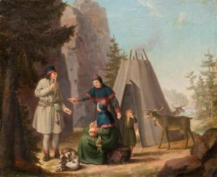 Paiting by Swedish artist Pehr Hilleström (1732–1816), titled The Costume of the Lapponians, Svenska/Swedish: Lappländernes Drägt (Lappländska dräkten), unknown date. Source: Wikipedia