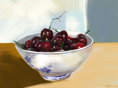 Title: Cherries in a Chinese Bowl, iPad painting by Marthe Bijman (digital painting, 21 x 28 inches)