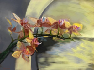 Title: Orchids on the Mantelpiece, iPad painting by Marthe Bijman (digital painting, 28.44 x 21.33 inches inches)