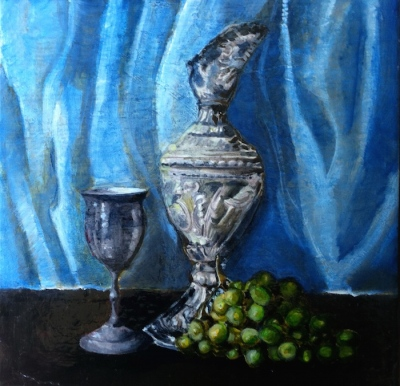 Title: Time for a drink - Silver carafe and goblet with grapes, 12 x 12 inches, acrylic on canvas