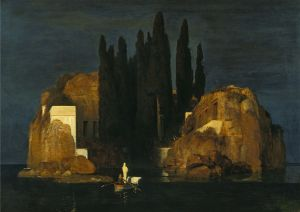 Isle of the Dead (German: Die Toteninsel) is the best-known painting of Swiss Symbolist artist Arnold Böcklin (1827–1901). Böcklin produced several different versions of the mysterious painting between 1880 and 1886. Here we can see the silent boatman, the single passenger, and the island of the dead to which they are going.