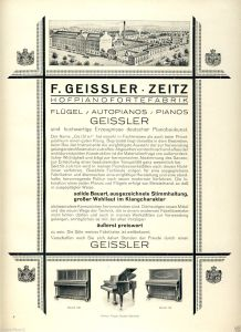 Advertisement for Geissler pianos - note the royal insignias.