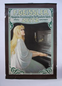 Advertisement for Geissler pianos - very Art Nouveau - look at the frame and the styling of the female figure. (Why she is in a nightgown I do not know.)