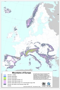 Mountains of Europe, using UNEP-WCMC 2000 global delineation, European Commission Report (rtrvd. from ec.europa.eu on 2016-08-02)