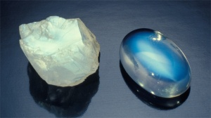 Moonstone - rough and cabbed. Cabochon is approximately 5 ct. The beautiful shimmer of light that's characteristic of moonstone is apparent even in its rough form. This special property is maximized by a quality cut. - David Humphrey