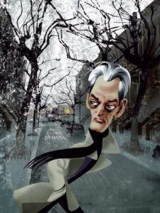 """For all the postmodern maneuvers, Auster is the least ironic of contemporary writers."", Illustration by André Carrilho, in the New Yorker, in an article dated Nov. 30, 2009, entitled ""Shallow Graves - The novels of Paul Auster"", by James Wood. (Rtrvd. 2016 -09-29)"