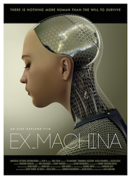 """Poster from the film Ex Machina. The sexbot in the film is not """"Ava"""", played by Alicia Vikander, whose image is on the poster, but """"Kyoko"""", played by Sonoya Mizuno."""