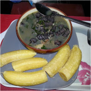 The family eats mostly peppersoup and, as a special luxury, goat stew. Peppersoup is shown here with plantains. Peppersoup is a West African soup that is prepared using various meats, chili peppers and nutmeg as primary ingredients. It is a spicy soup that has a light, watery texture. It is considered to be a delicacy by some people in Western Africa, and some West Africans believe that the soup has medicinal qualities.