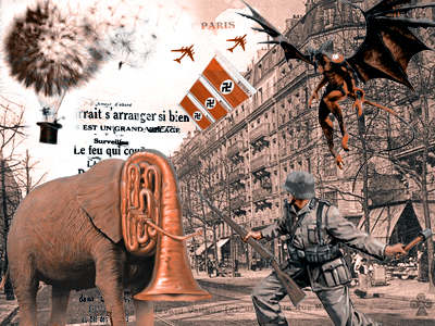 China Miéville's novels lend themselves to illustration, as his legions of fans have demonstrated. This excellent collage is by the (nameless) author of the French Sci-Fi blog, avant-critique. The artist did not think that the graphics in the novel were adequate to reflect the tone.