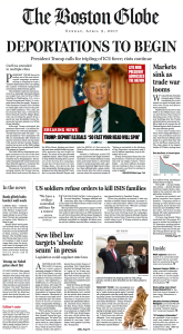 "A fake news front page - The Boston Globe's version of non-fiction ""alternative history"", referenced by Ben Winters on his website. Note the small print on the bottom: ""Editor's note - This is Donald Trump's America. What you read on this page is what might happen if the GOP front­run­ner can put his ideas into practice, his words into action. Many Americans might find this vision appealing, but the Globe's editorial board finds it deeply troubling. Read our editorial on Page K2 for more on the dangers of Trump's vision."" Well, it is now President Trump."