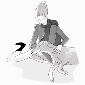 The dog that almost died - Illustration in black and white by Ollie Brock for The Return of the Young Prince.