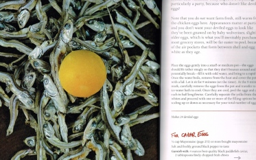 Food as abstract art. Who knew that anchovies and a yolk could look so much like the sun reflected in a murky pond full of weeds. (p. 102)
