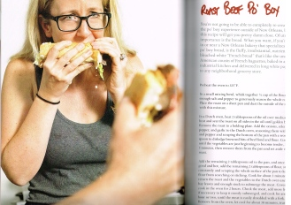 """Co-author Laurie Woolever features in the book as well as chef Eric Ripert. Here she is tucking into a dripping """"roast beef po' boy"""" (p.80)."""
