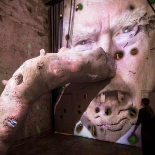 Large-scale troll installations at the Venice Biennale briefly appear in the likenesses of Donald Trump and Margaret Thatcher. (Photograph: David Levene for the Guardian)