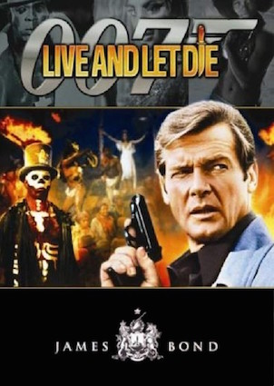 Roger Moore in poster of Live and Let Die