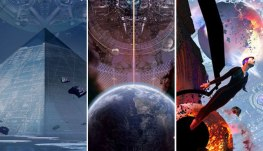 """Images from the covers of the Liu Cixin trilogy, """"Remembrance of Earth's Past"""""""