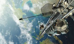 "Visualization of a space elevator concept by Katherine Burgess, Ross Gregorive, Mason Roberts, Kevin Thompson, Matt Uleman, from ""Space Elevator - PHYS 310"", on www.energyphysics.wikispaces.com. rtrvd. 2017-07-07"