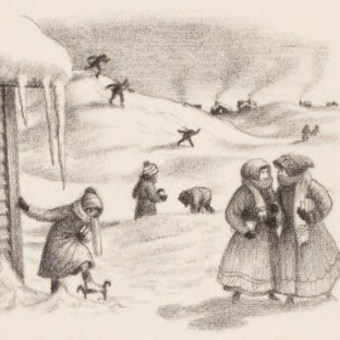 "Illustration by Garth Williams in ""the Long Winter"", by Laura Ingalls Wilder (From the Puffin Books ed., 1967)"