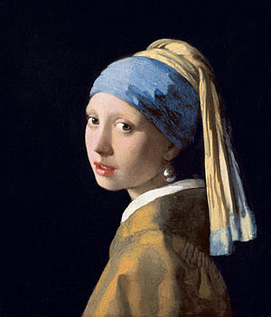 """""""Girl with the pearl"""", by Jan/Johannes Vermeer, 44.5 cm × 39 cm (17.5 in × 15 in). In Dutch, the title is """"Meisje met de parel"""", which means, """"girl with THE pearl"""". Note: no reference to an """"earring"""" and not """"a"""" pearl earring, """"the"""" - very specifically."""