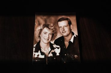 A Christmas portrait of Arno Smit and his American partner, Vonnie Cary.