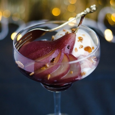 Pears in red wine with ice cream.