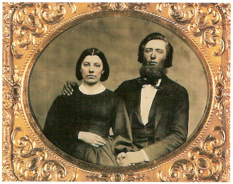 Caroline and Charles Ingalls. From the photo his eyes were light-coloured, probably blue. (Source: Littlehouseontheprairie.com