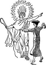 """Mary Poppins dancing with the sun in the sky - the only one who does not get burned by its brilliance. (From """"Mary Poppins Comes Back"""", illustration by Mary Shepard)"""