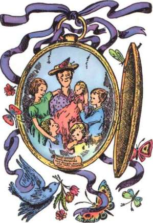 "Mary Poppins and the Banks children looking distinctly like a painting by Sandro Botticelli, ""Madonna of the Pomegranate"" with Mary at the centre. All she's missing is a halo. (From ""Mary Poppins Comes Back"", illustration by Mary Shepard)"